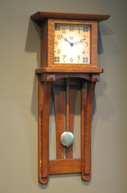 Trestle arch wall clock at the present time for Arts and crafts style wall clock