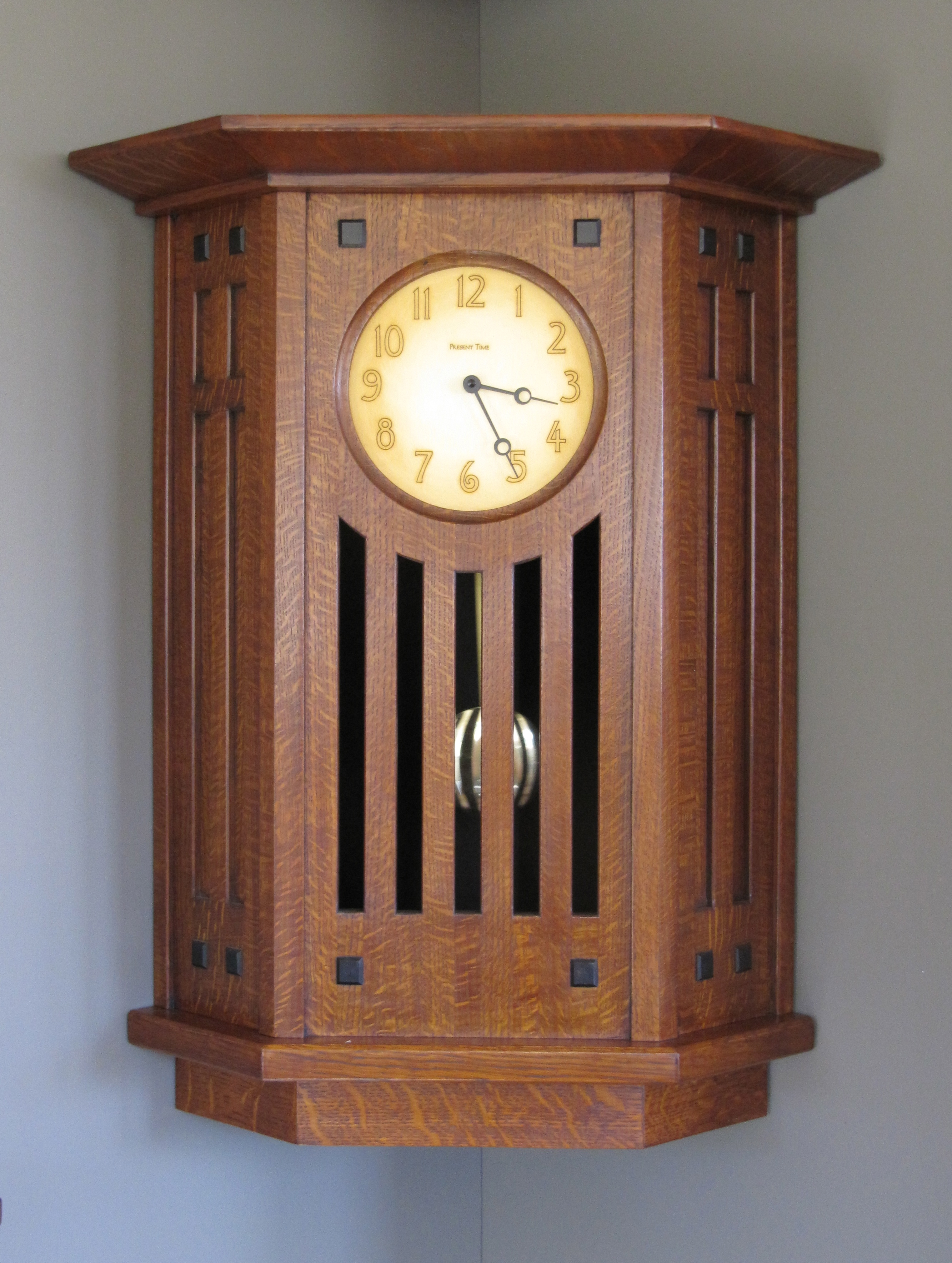 Corner wall custom design at the present time for Arts and crafts style wall clock